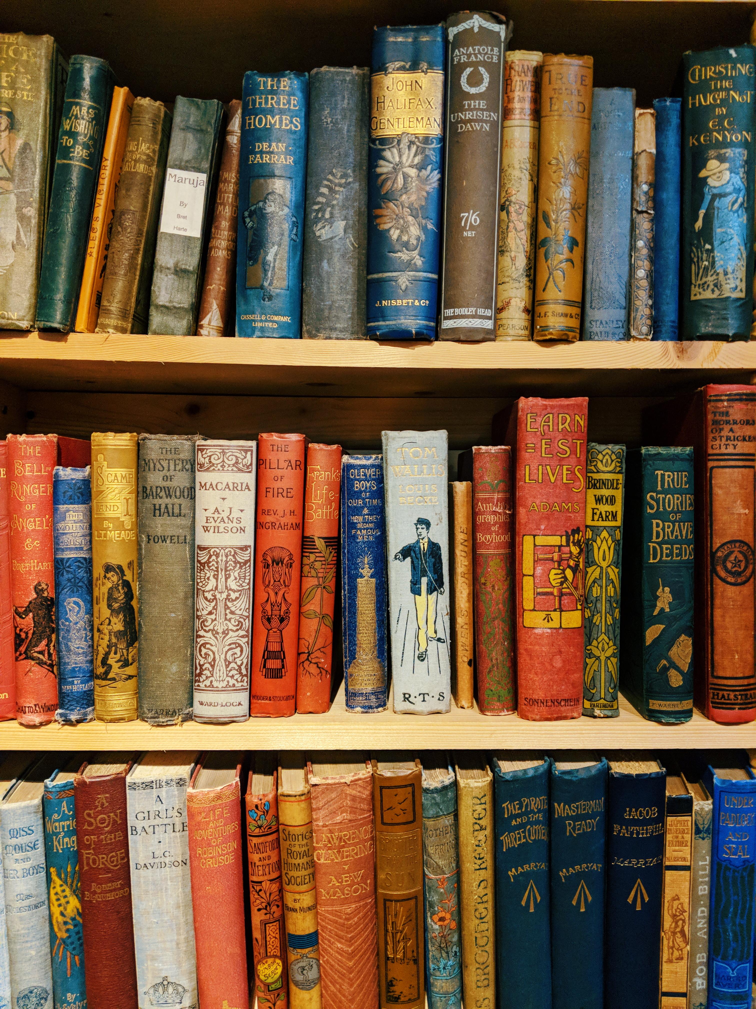 A bookshelf of vintage children's books