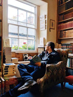 Man sitting in armchair Addyman Books