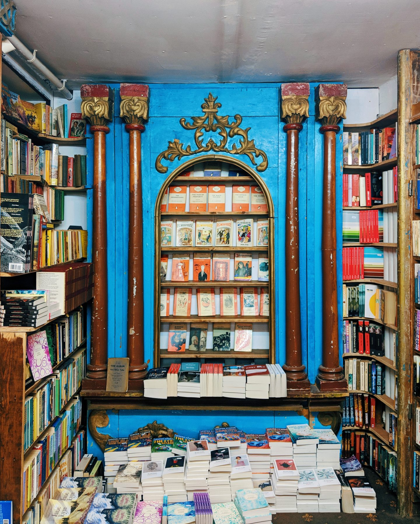 The Vintage Penguin bookshelves at Addyman Books