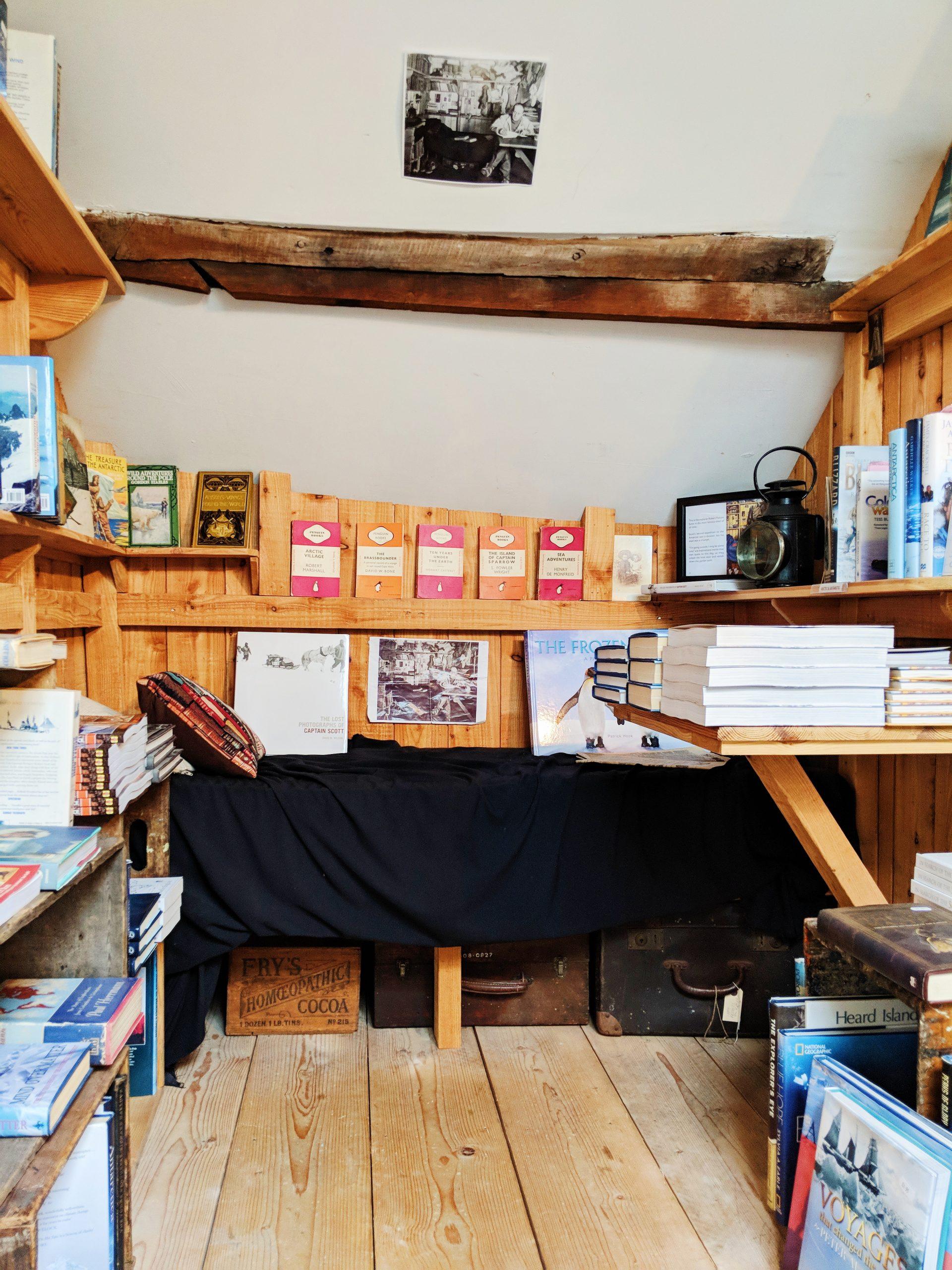 A replica of Captain Scott's cabin at Addyman Books