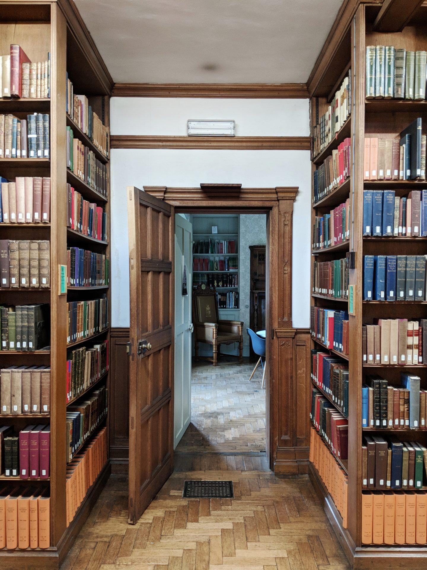 Bookshelves at Gladstones Library