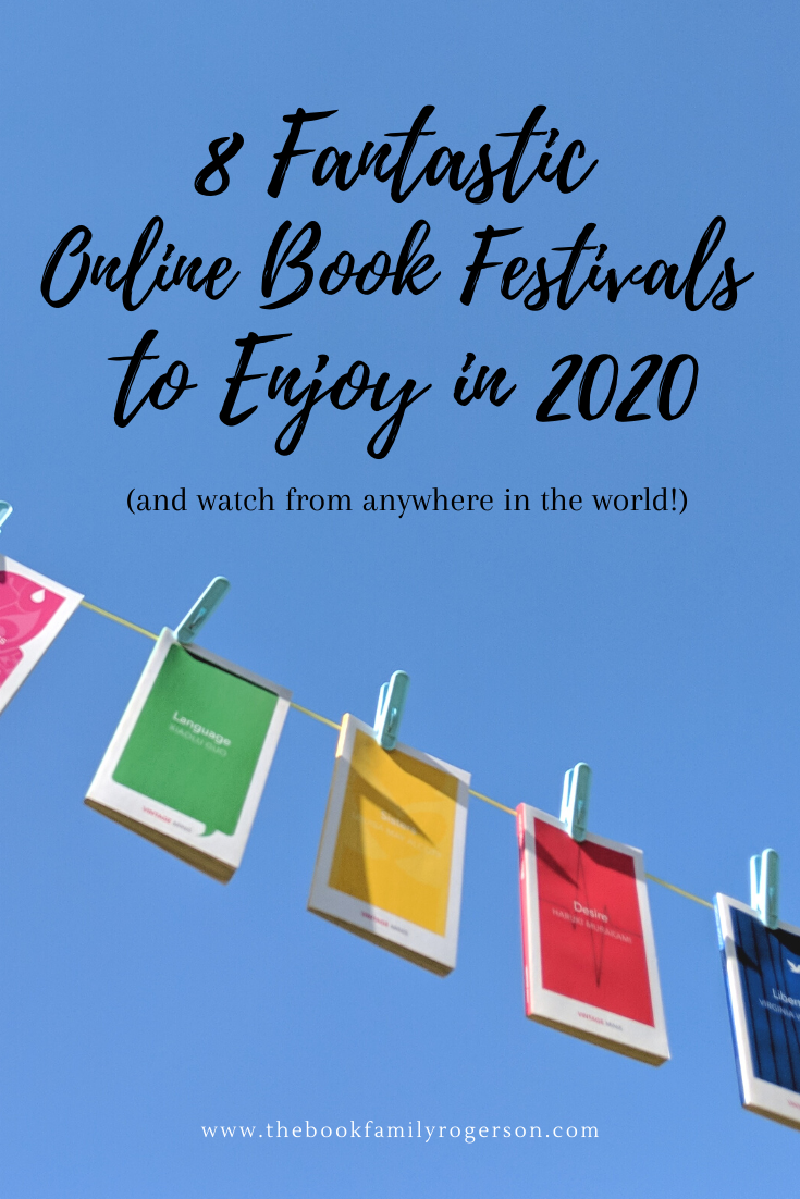 Online Book Festivals to Enjoy in 2020 with a bunting of brightly coloured books against a blue sky.