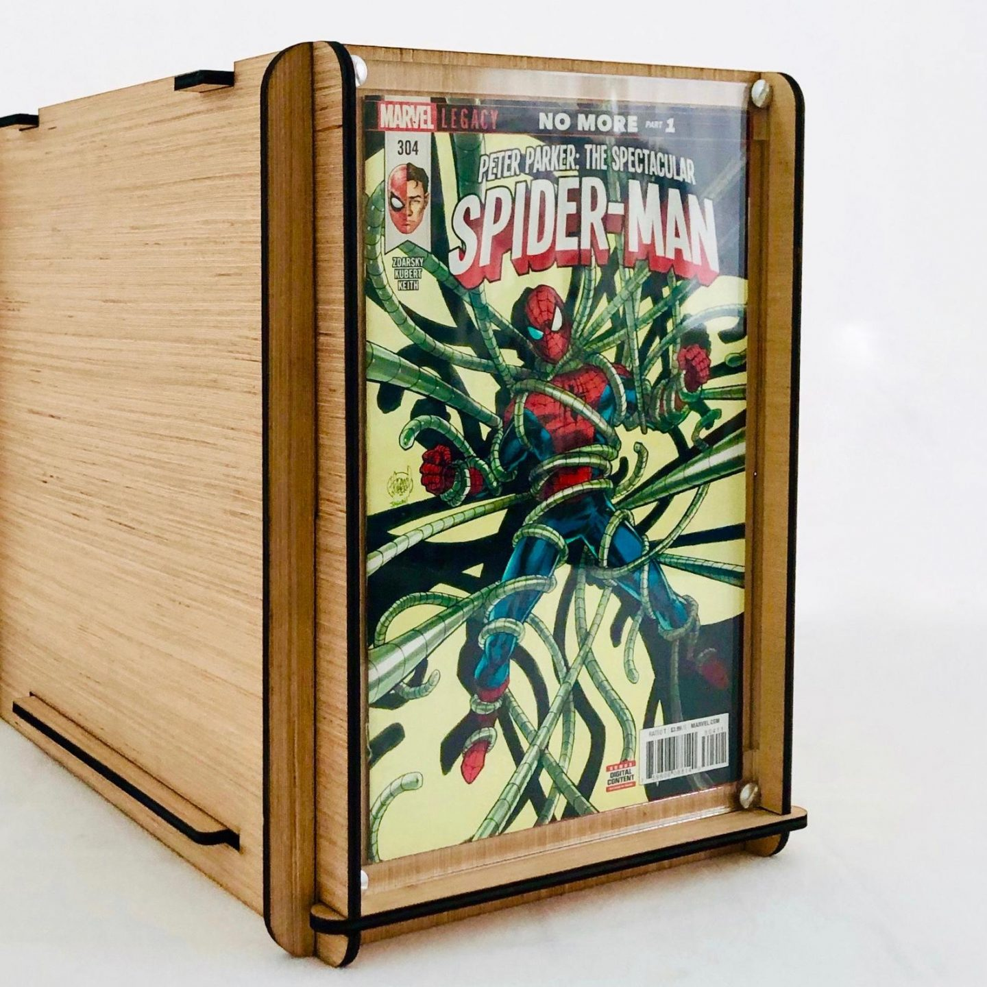 A comic book storage box made out of wood with a Plexiglass frame.