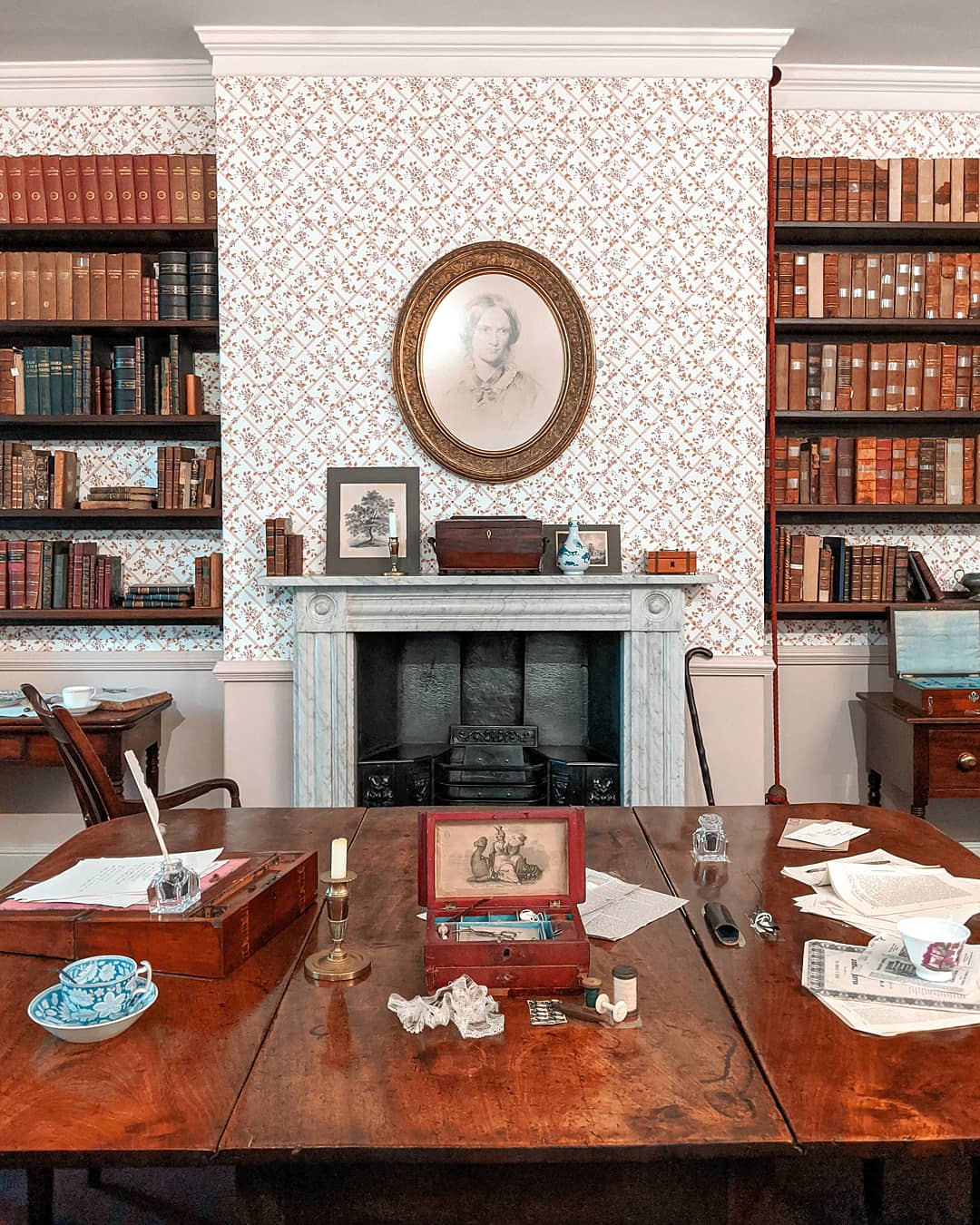 The Dining Room at Brontë Parsonage Museum with a portrait of Charlotte Brontë