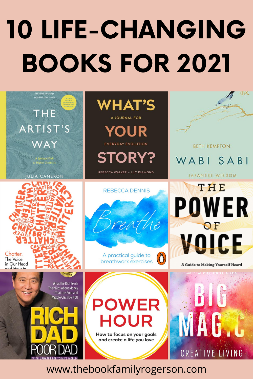 A grid of 9 self development book covers to depict 10 life-changing books for 2021.