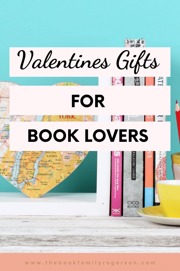 A photo of a personalised map heart bookend next to some books and a cup and saucer with the text Valentines Gifts for Book Lovers overlaid on strips of pale pink.
