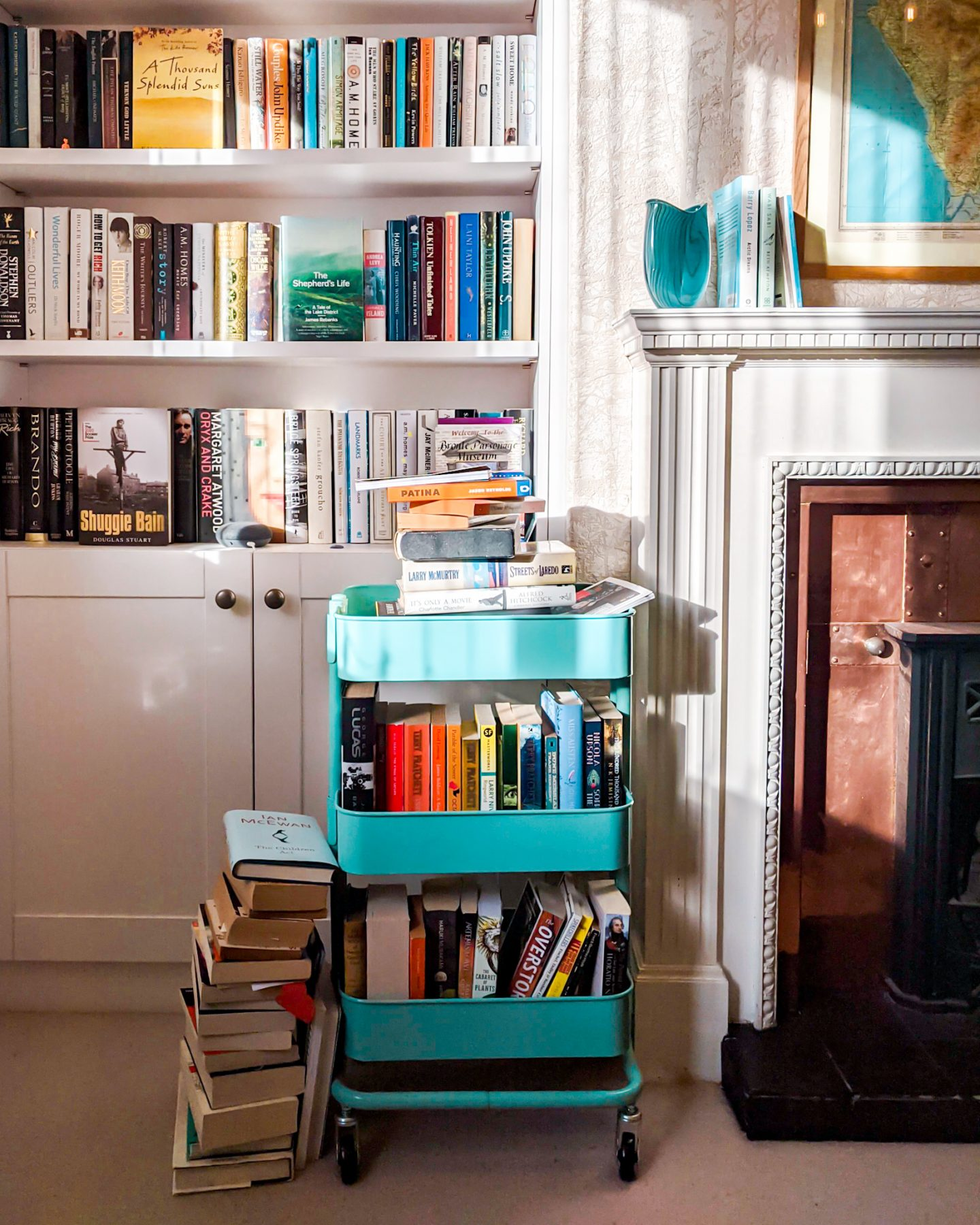 A home library with a book trolley illustrated The BFR Round-Up February 2021