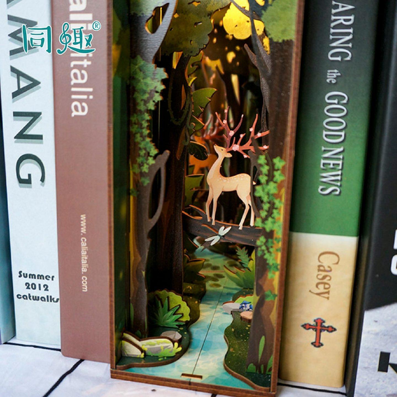 Deer in Forest Bookshelf Diorama