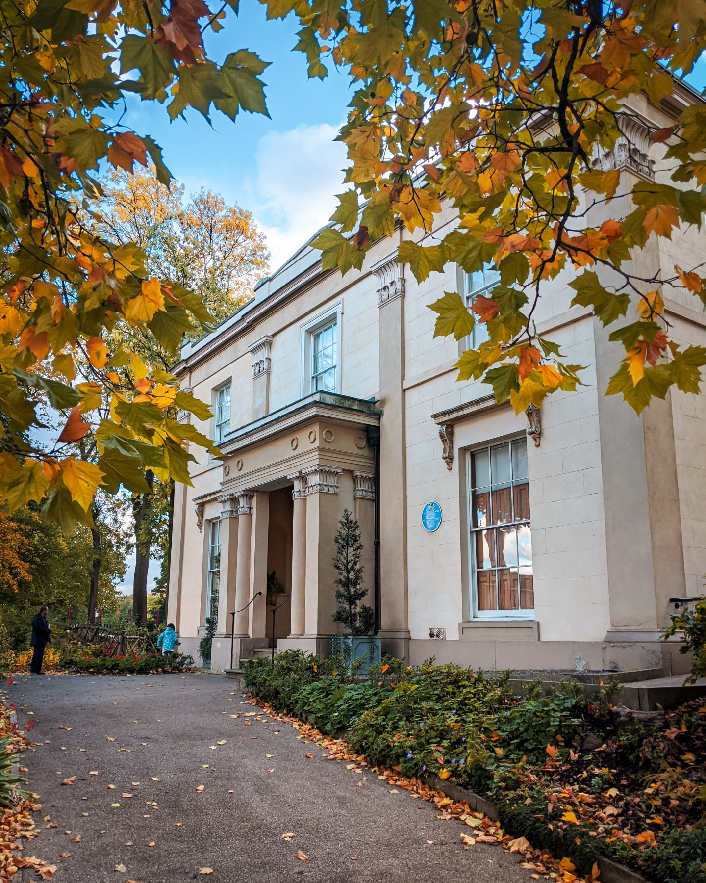 Elizabeth Gaskell's House surrounded by Autumn leaves