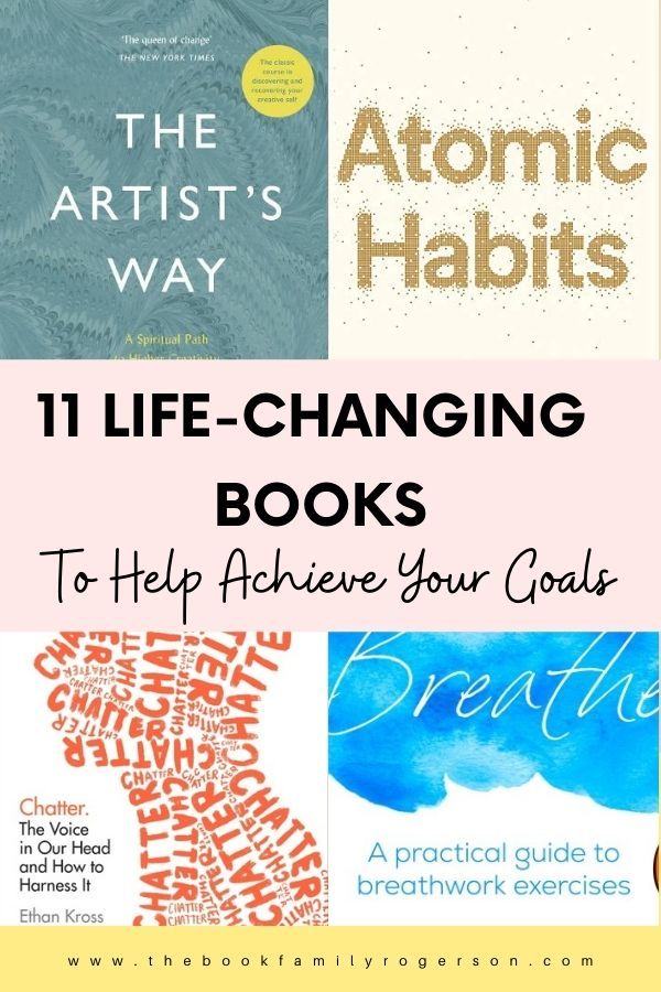An image showing 4 book covers - The Artist's Way, Atomic Habits, Breathe and Chatter of life-changing books.