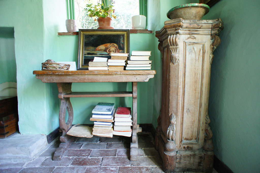 A side table at Monk's House, former home of Virgina Woolf