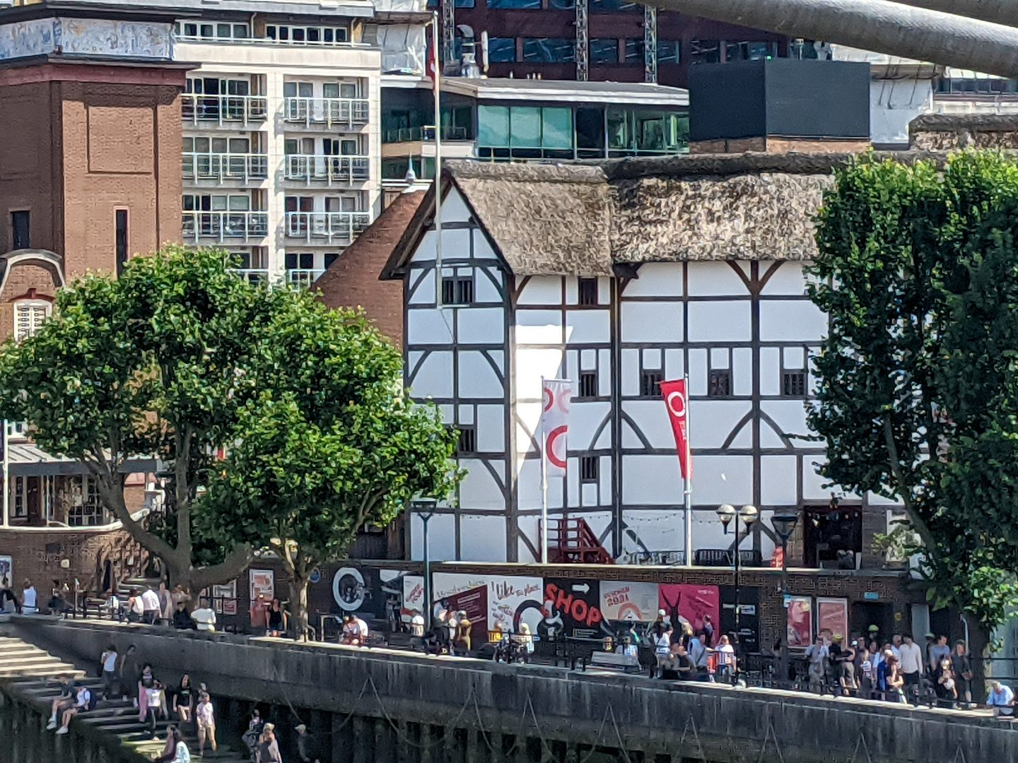 A view of Shakespeare's Globe Theatre on the Southbank, London